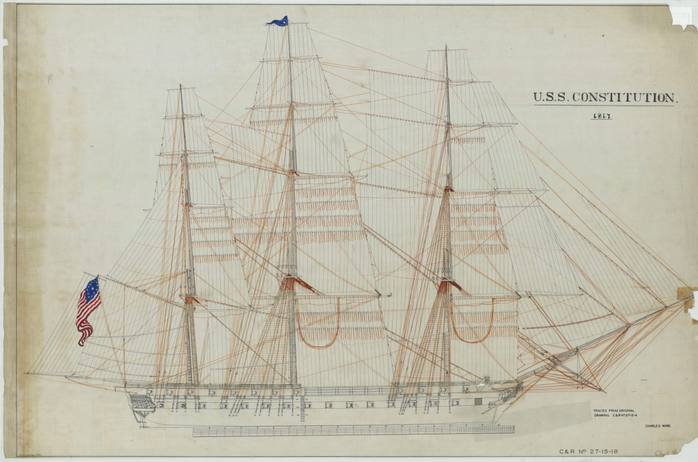 1817-sail-drawing-of-the-uss-constitution