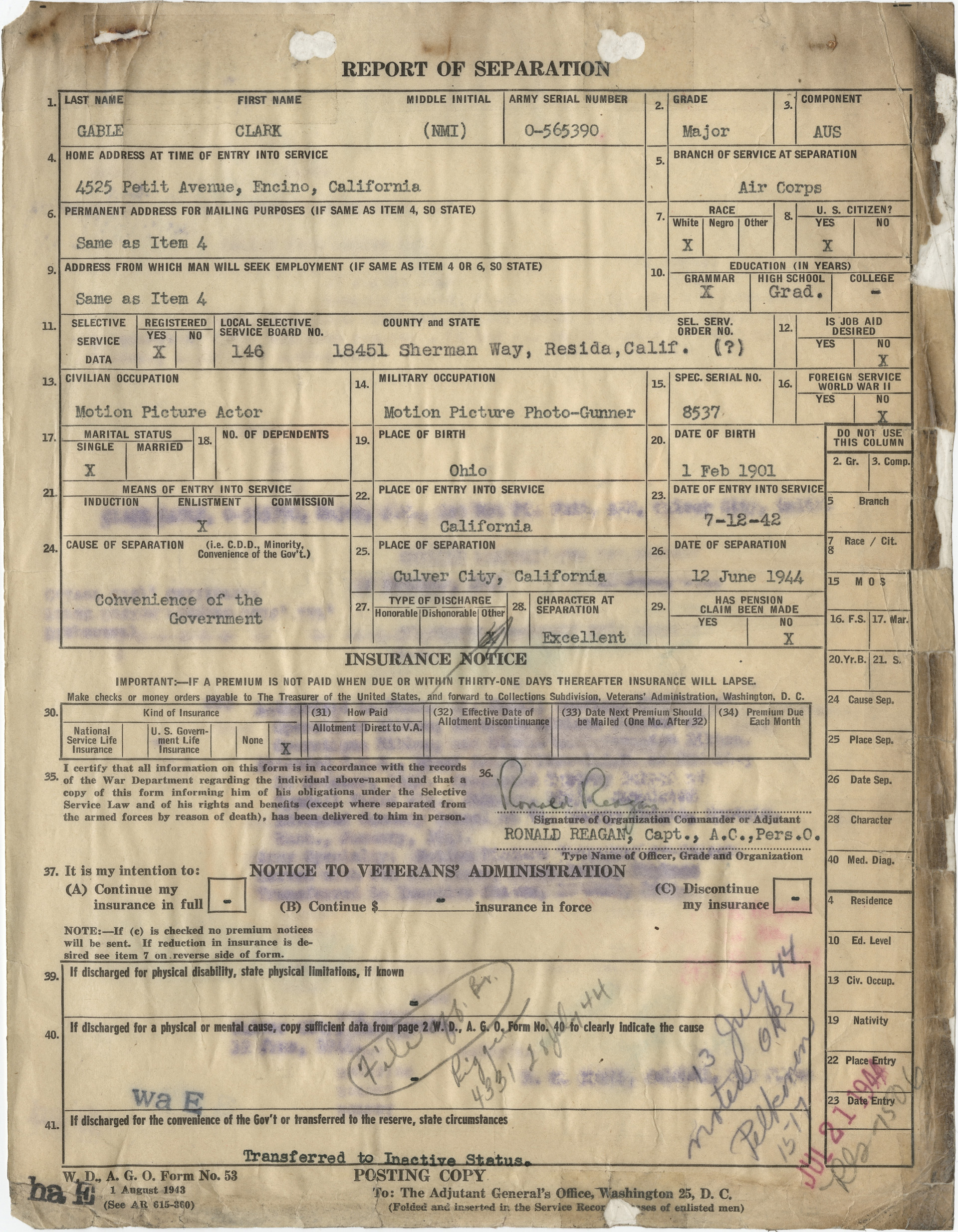 Clark Gable's Report of Separation signed by Ronald Reagan