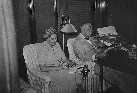 Franklin D. Roosevelt and Grace Tully on Inspection Train, 09/20/1942 (See citation below)