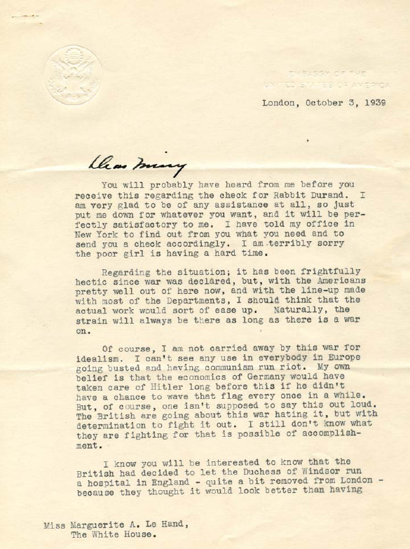 Letter from Kennedy to LeHand 1