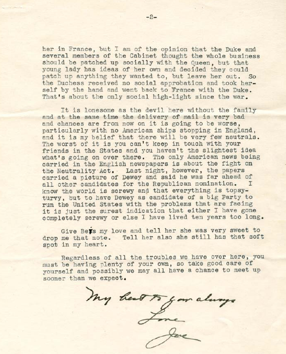Letter from Kennedy to LeHand 2