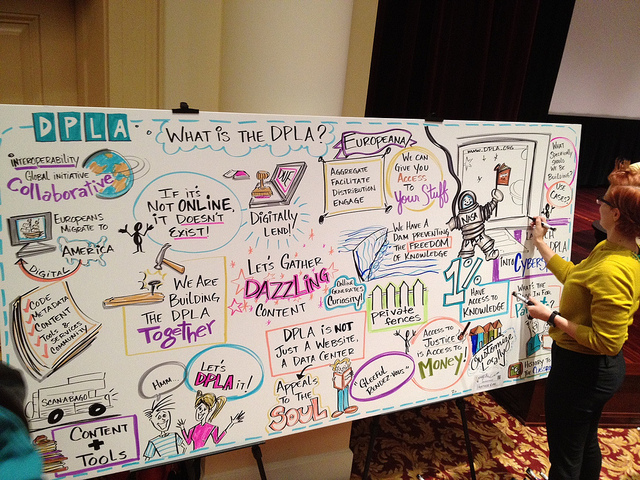 Visual artist drawing on poster board.  Poster titled: DLPA - What is the DPLA?