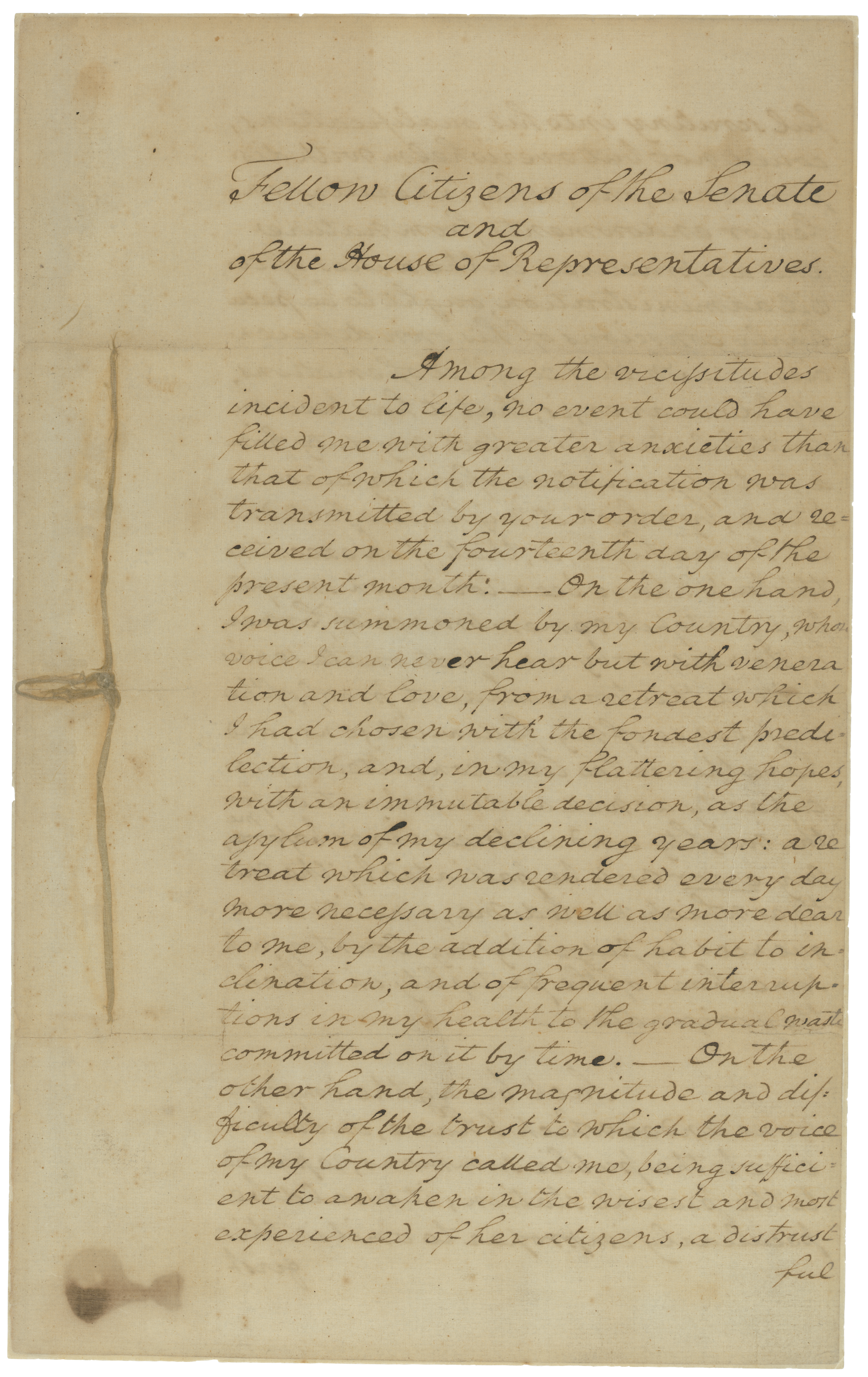 Washington Inaugural Address Page 1