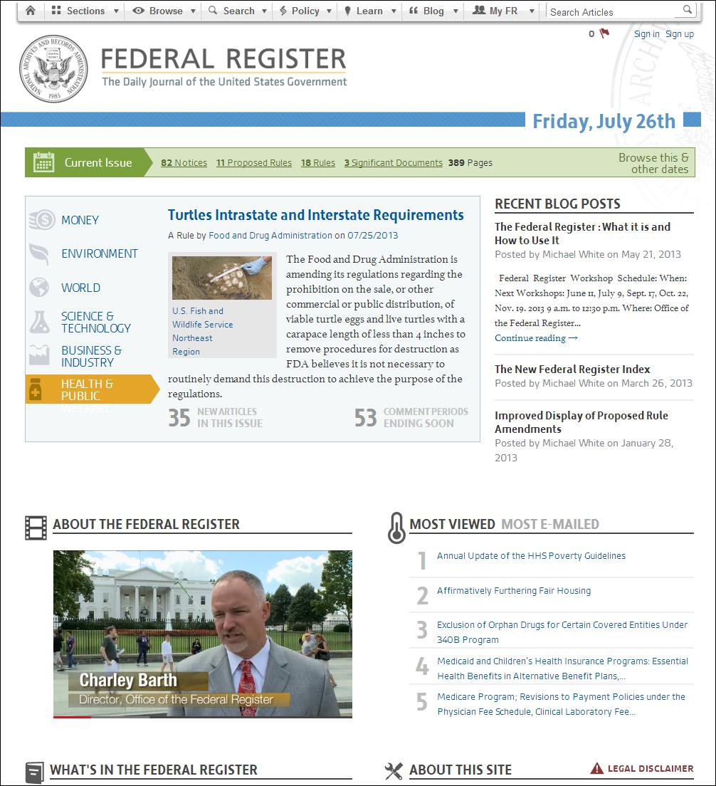 Federal Register homepage