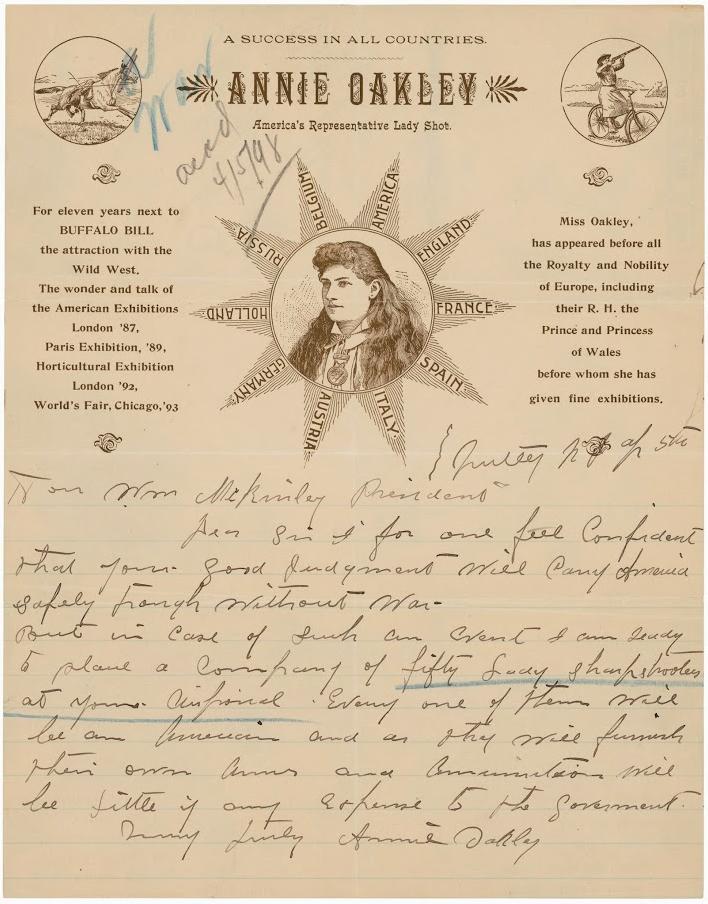 Annie Oakley letter to William McKinley