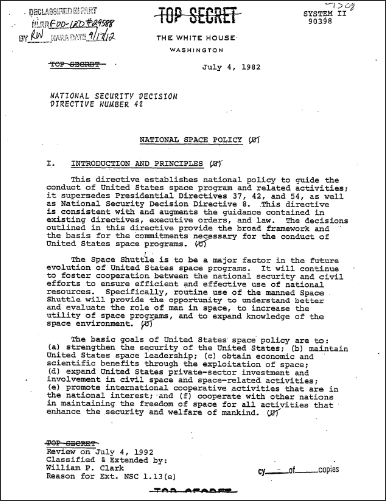 Space Policy document