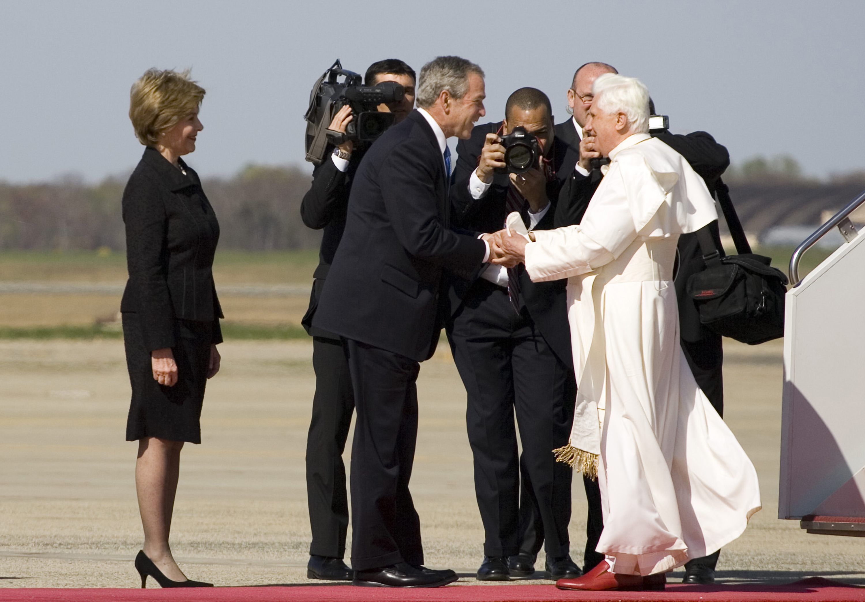 President George W. Bush and Laura Bush Greet Pope Benedict XVI on His Arrival at Andrews Air Force Base, Maryland, 04/15/2008. National Archives Identifier 7582808