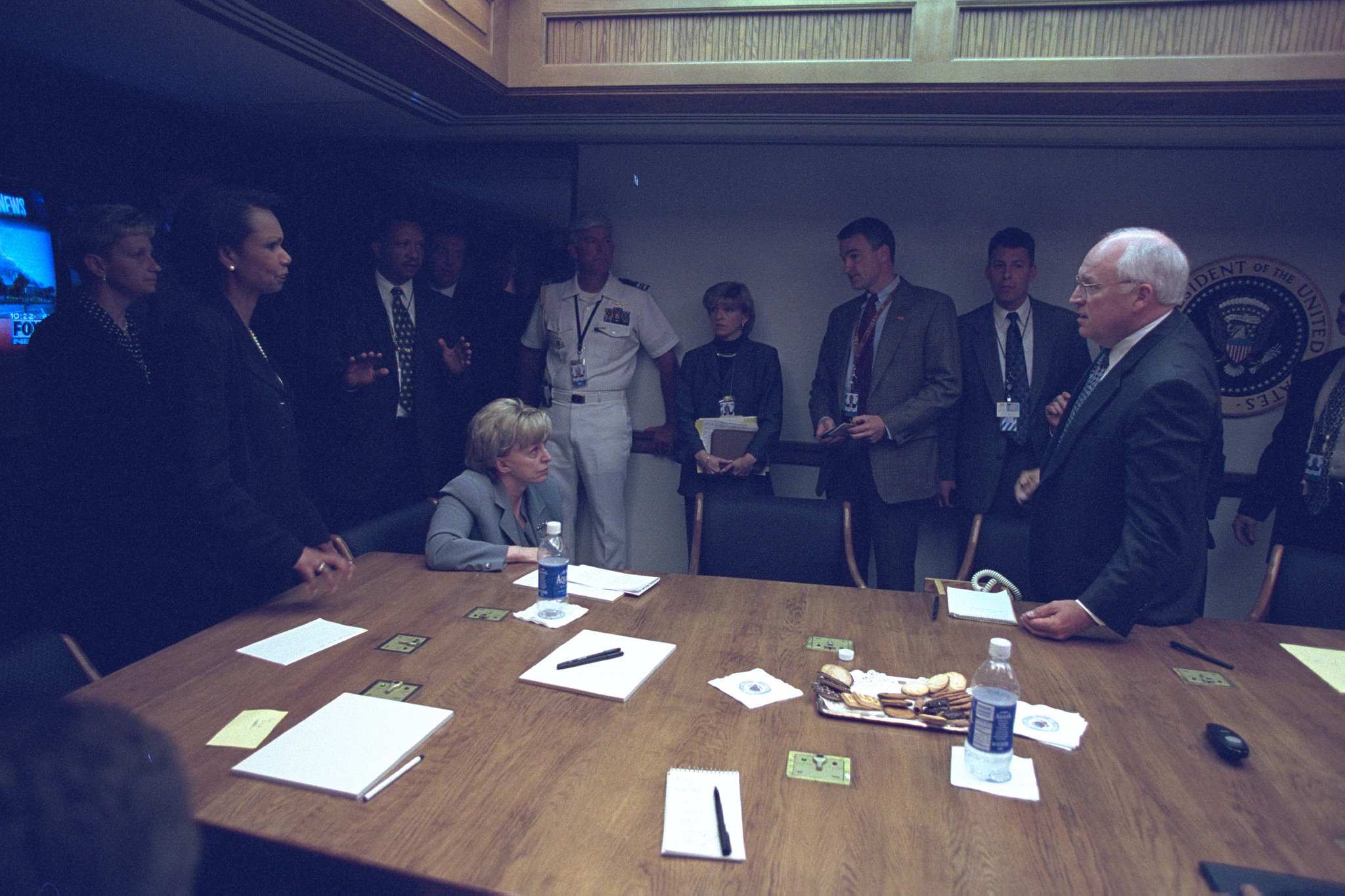 Vice President Cheney with Senior Staff in the President's Emergency Operations Center (PEOC). National Archives Identifier 20932904