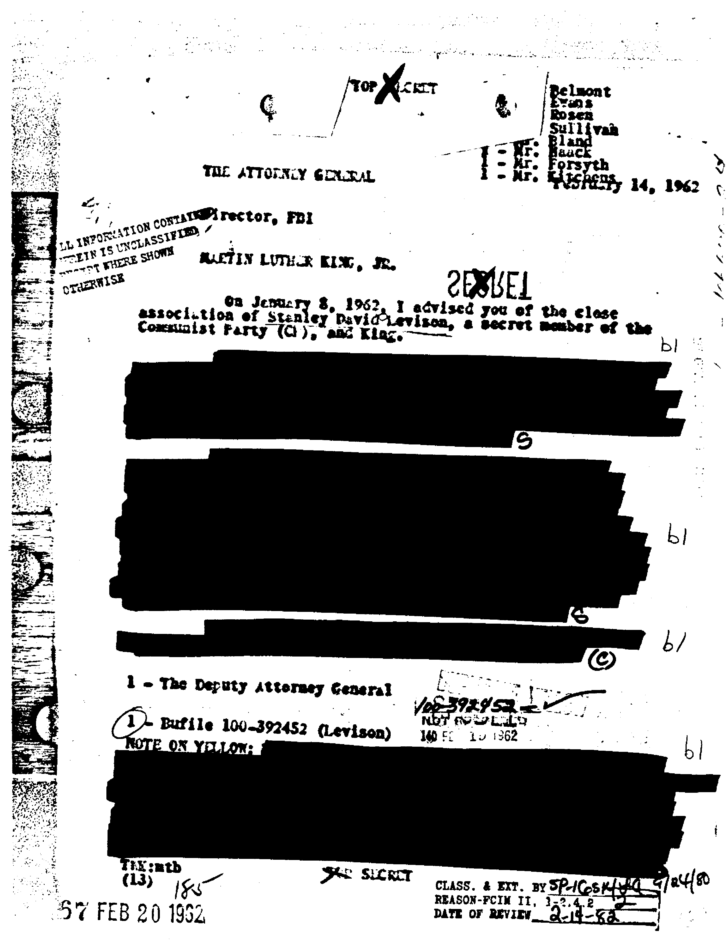 1962 memo from the FBI Director to the Attorney General concerning Dr. King. This heavily redacted page was originally provided to Branch by the FBI.