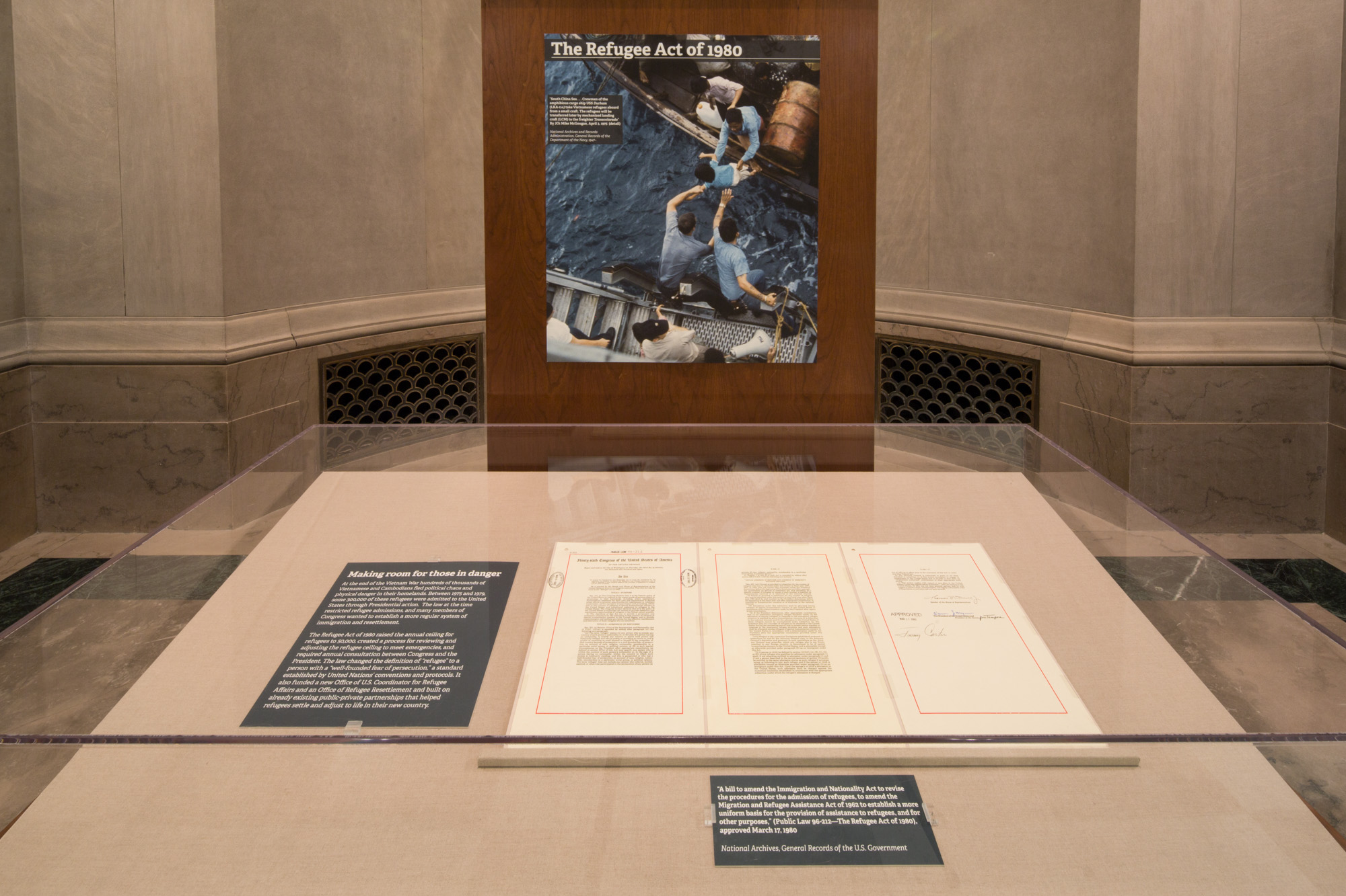 The Refugee Act of 1980 is now on temporary display in the West Gallery of the National Archives Building. Photo by National Archives Photographer Jeffrey Reed.