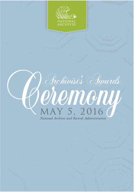 2016 Archivist's Award Ceremony program cover