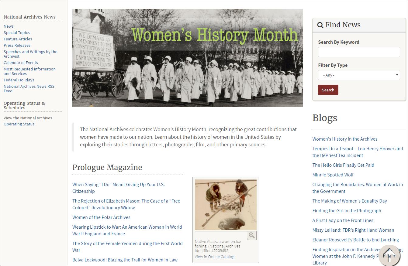 Women's History Month webpage