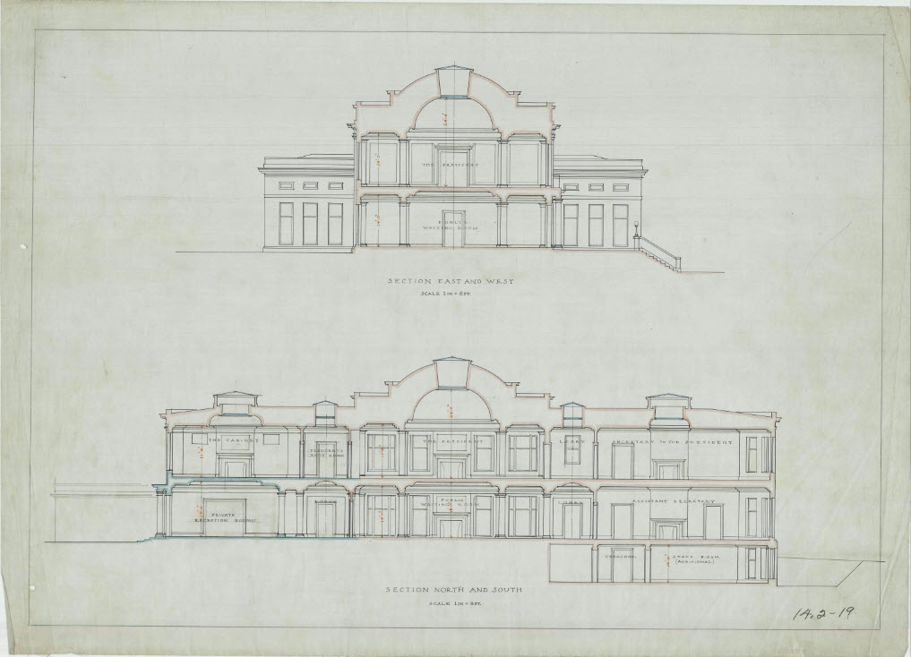 Interior Cross Sections of the West Wing on an East to West Axis and North to South Axis, White House