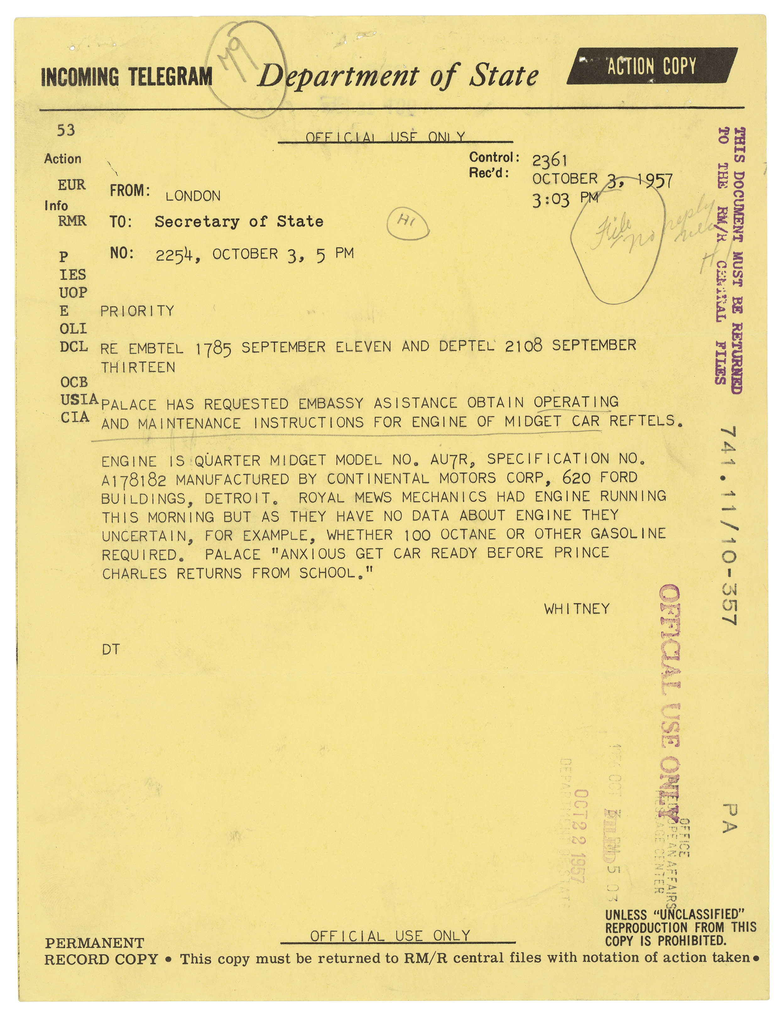 Telegram from U.S. Embassy in London to the Secretary of State,October 3, 1957