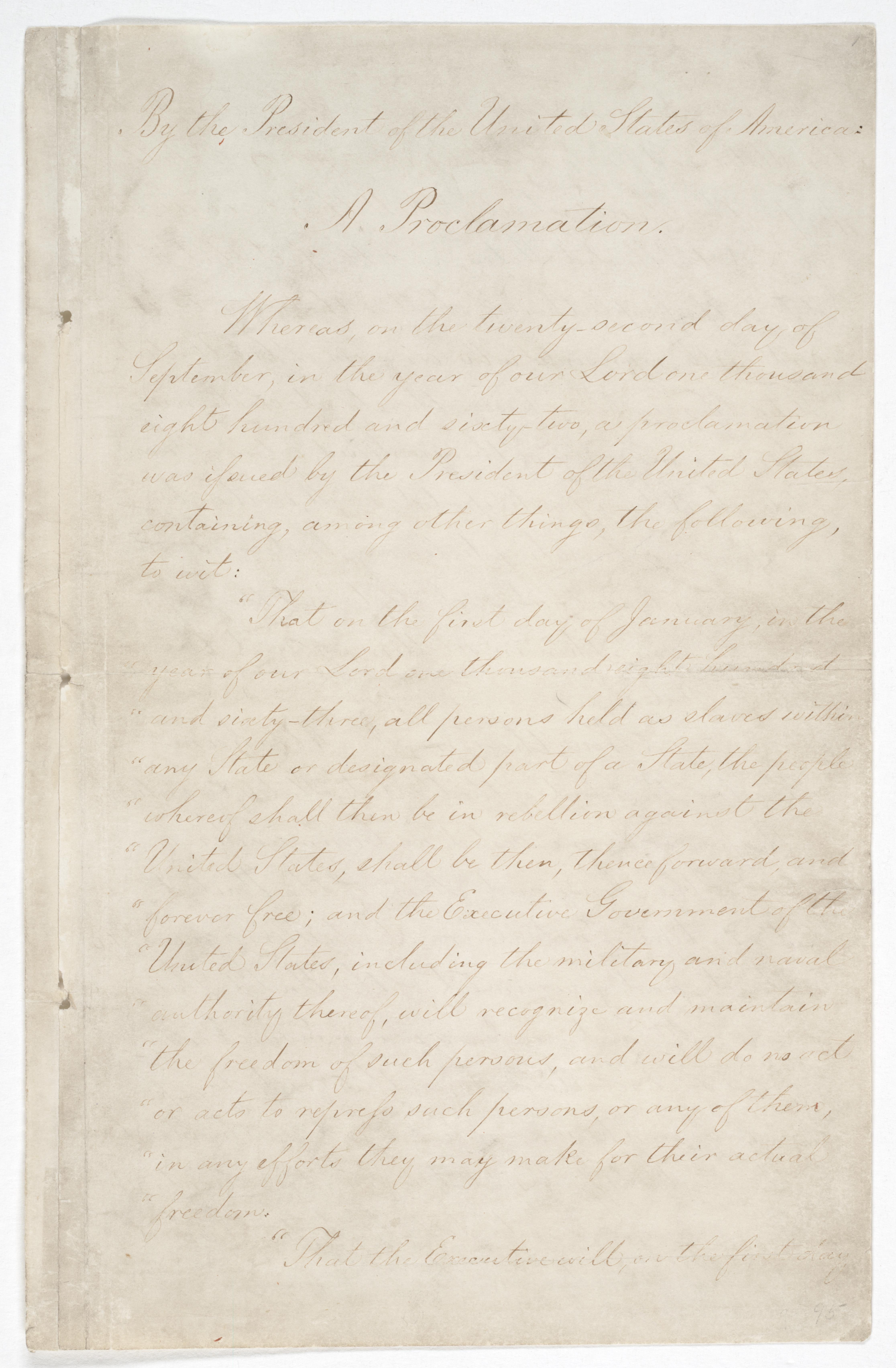 Emancipation Proclamation, Page 1