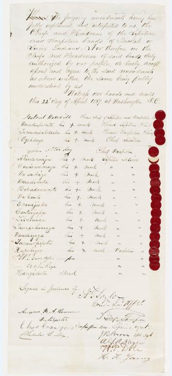 Sample image from the Ratified Indian Treaty 360: Sioux (Sisseton [Sissiton], Wahpeton [Warpeton]) - Washington, DC, 1867.