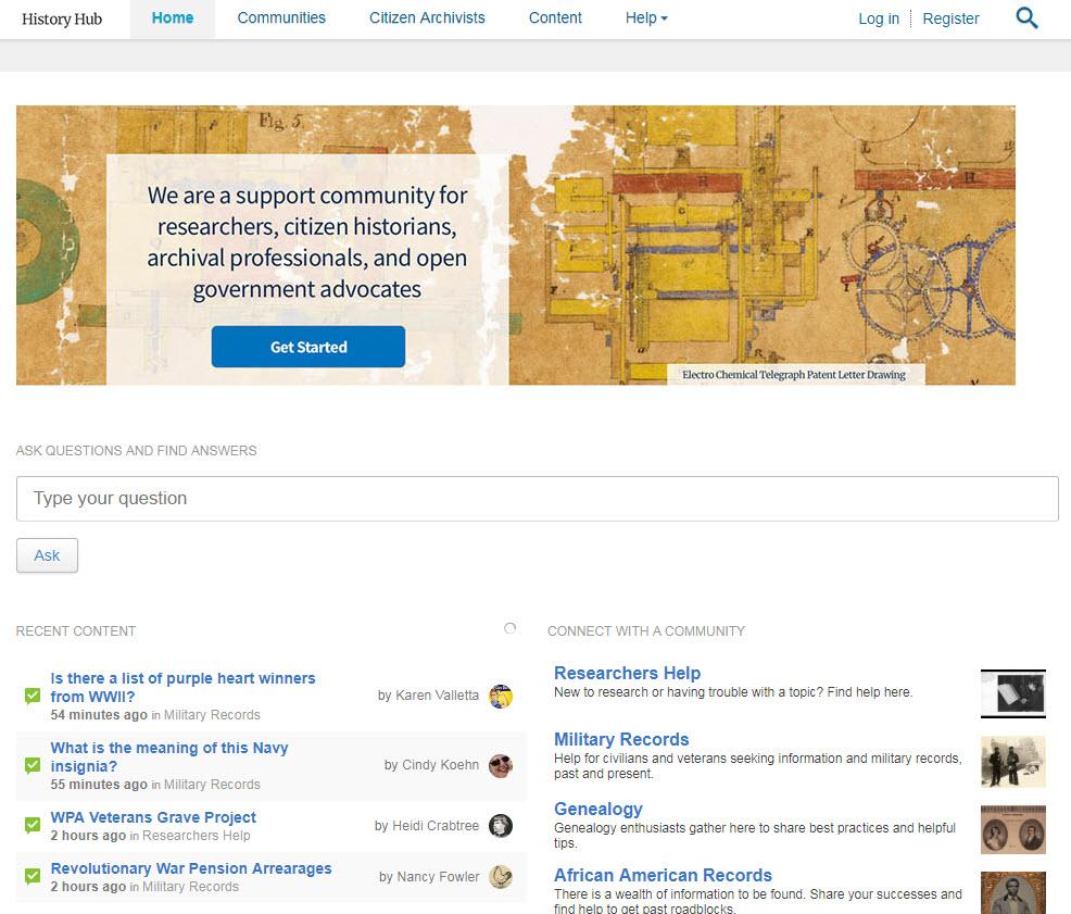 History Hub homepage