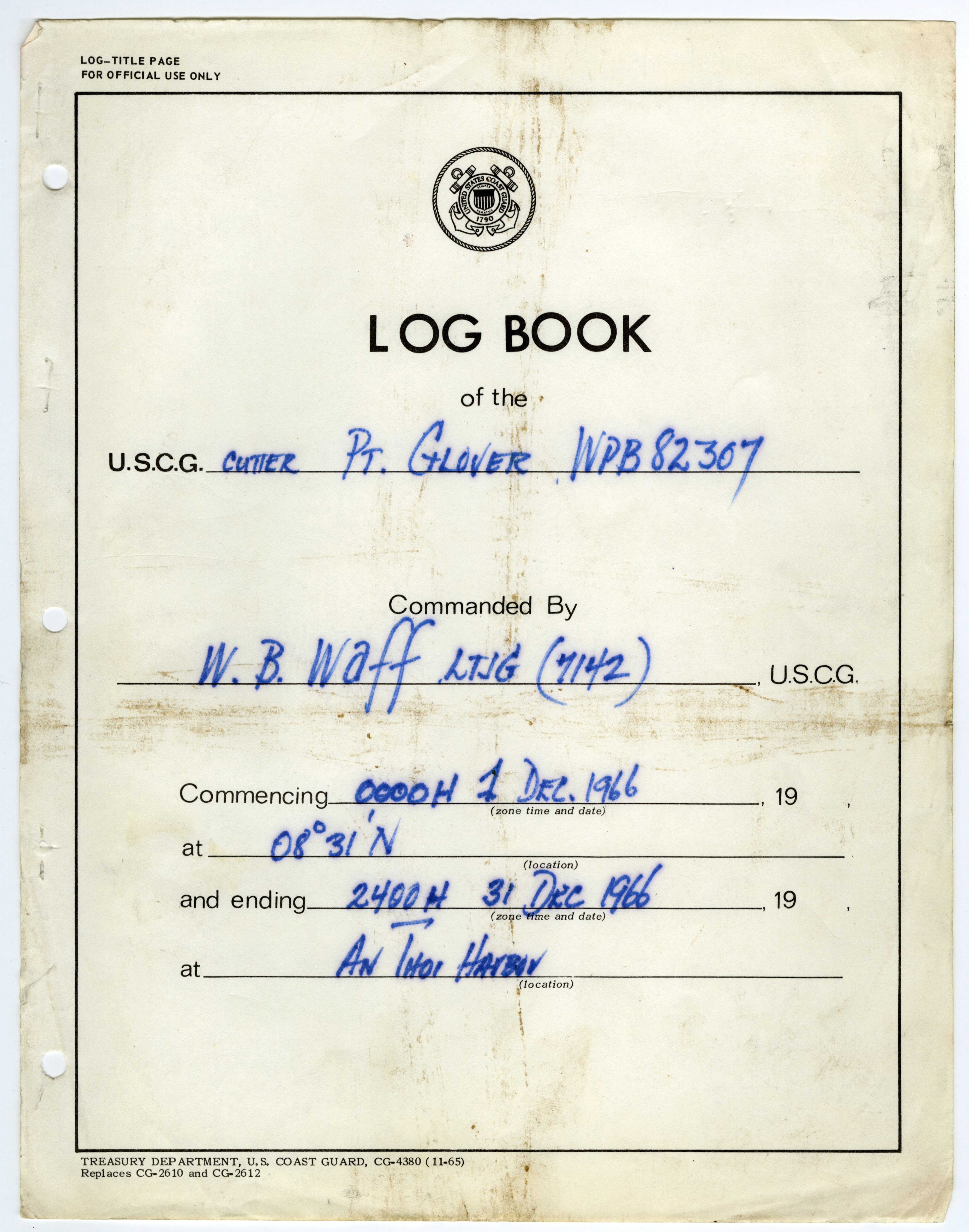 Logbook cover for the USCG Point Glover