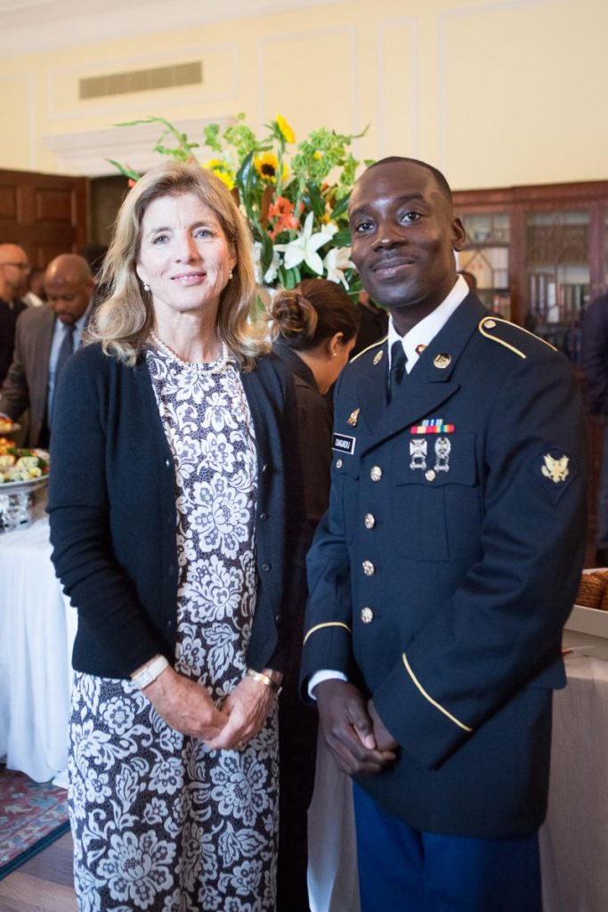 Image of the Honorable Caroline Kennedy with Nii Armah Dagadu, originally from Ghana, who was sworn in as a new American citizen at the event.