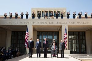 President Barack Obama with former Presidents George W. Bush, Bill Clinton, George H.W. Bush, and Jimmy Carter during the dedication of the George W. Bush Presidential Center at the George W. Bush Presidential Library and Museum on the campus of Southern Methodist University in Dallas, Texas, April 25, 2013